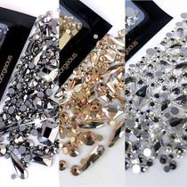 美甲钻网红爆款异形钻小圆钻满钻饰品矿黑水钻超闪香槟色指甲钻石