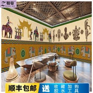 印度大象泰国民族风情壁纸东南亚风格瑜伽馆酒店餐厅泰式装修墙纸