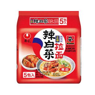 农心辣白菜泡菜拉面120克*5包/组