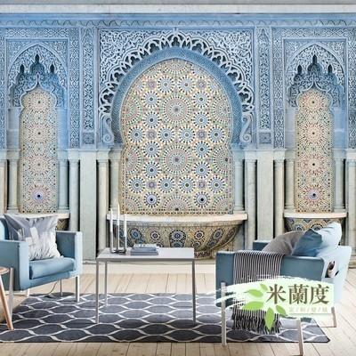 伊斯兰教堂宫殿壁画民宿客厅电视背景墙纸摩洛哥风格装修瓷砖壁。