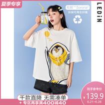 乐町趣味大图T恤2021年夏季新款短袖t恤设计感小众女宽松大印花