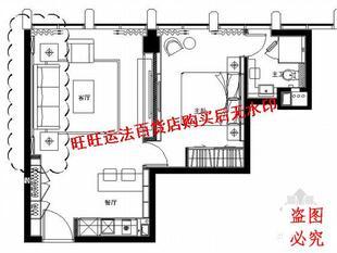 现代风格酒店公寓E型套房室内装修cad图纸(含效果)