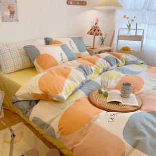 北欧风床上用品纯棉民宿公寓单人双人学生宿舍床上全棉四件套1.8M
