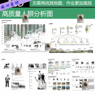 园林景观 人群分析图素材PSD素材 设计前期景观竞赛风效果图