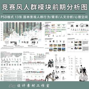 园林景观人群模块前期分析图PSD建筑环艺竞赛风效果图设计素材