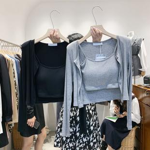东大门时尚套装2021年新款女早春两件套上衣吊带+垫肩开衫春季潮