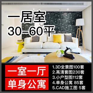 一居室装修设计效果图小户型房屋单身公寓大开间客厅卧室实景图片