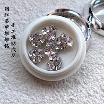 新款网红美甲钻堆钻超闪银色水钻6颗装轻奢美甲饰品指甲钻堆堆钻