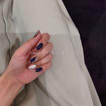 小红书美甲片成品手绘光疗甲几何INS竖条穿戴甲假指甲显白