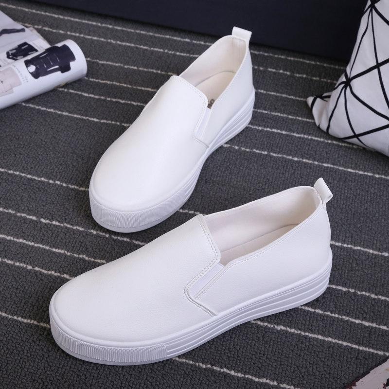 春季乐福鞋女皮面厚底单鞋小白鞋韩版松糕鞋一脚蹬懒人平底休闲鞋