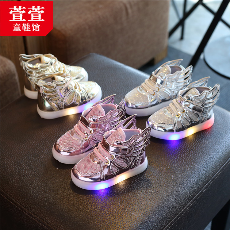儿童亮灯鞋男童运动鞋春秋2女童秋鞋小孩童鞋带灯3岁4宝宝发光鞋5