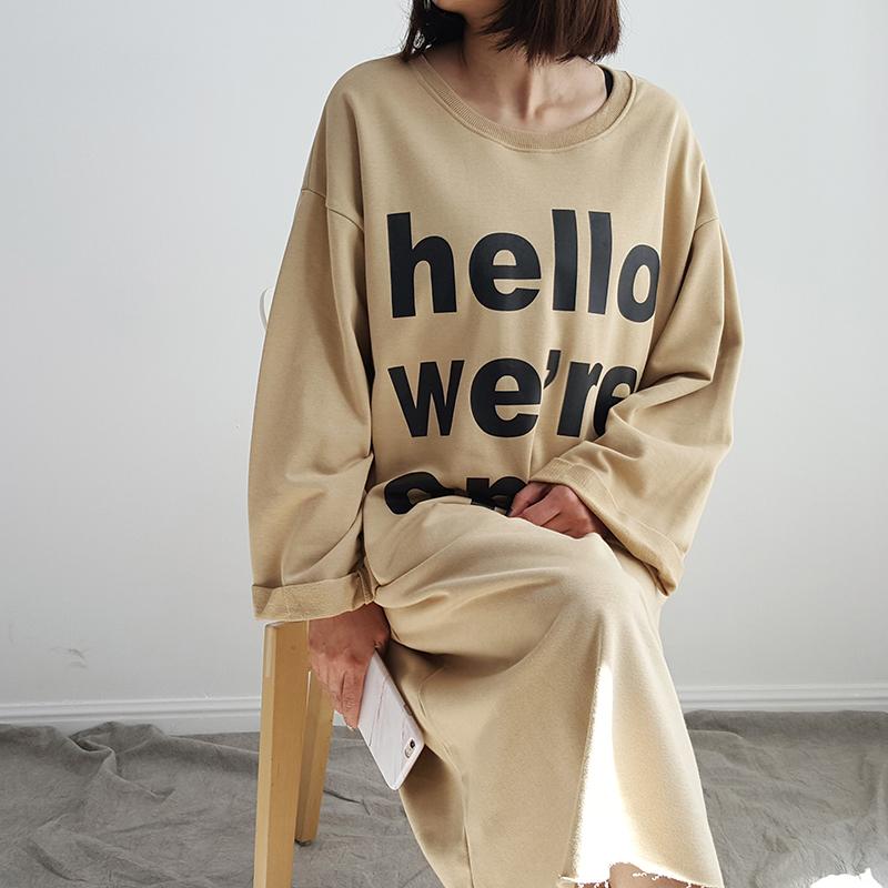 【小希家】宽松又显瘦的廓形 韩风百搭字母中长款九分袖T恤连衣裙