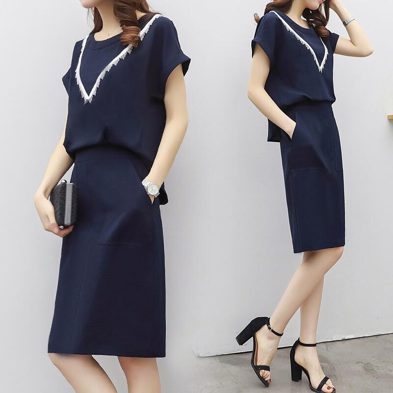 2018新款女装宽松大码假两件连衣裙显瘦时尚中长款休闲裙