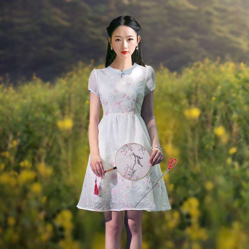 2017夏季新款花仙子民国风修身短袖连衣裙文世复古盘蓬蓬短裙女装
