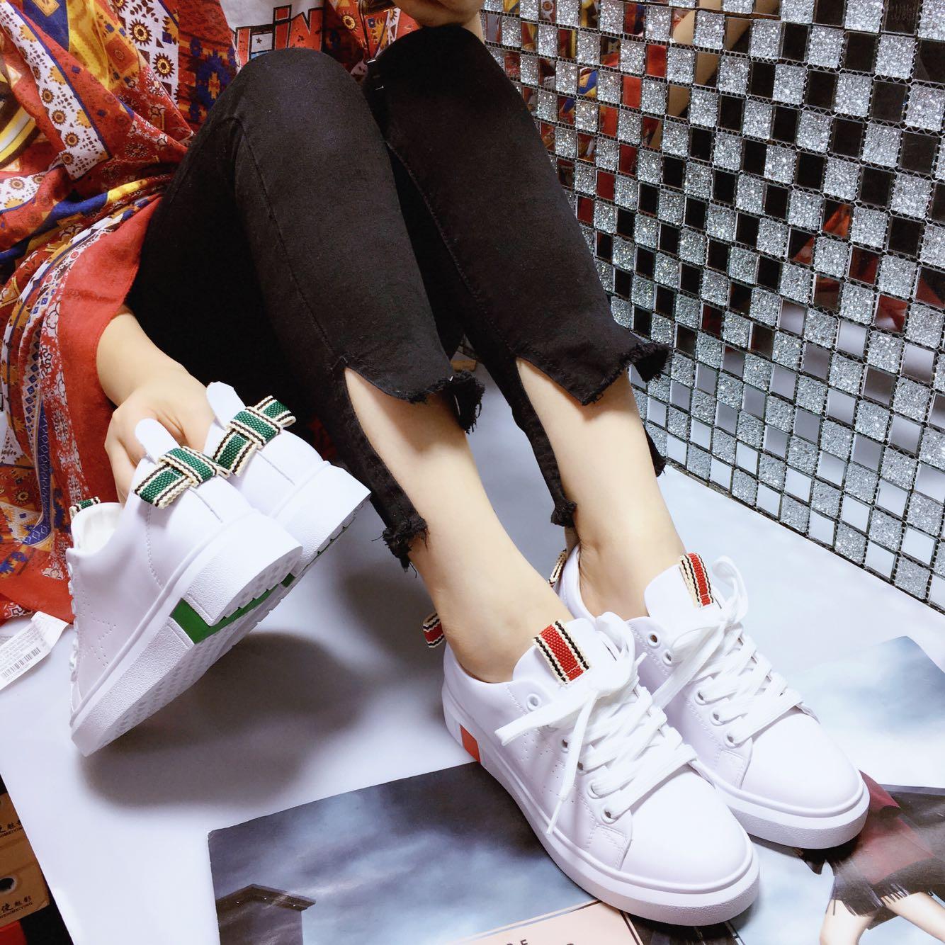 阳光丽莎小白鞋女鞋厚底运动板鞋韩版蝴蝶结百搭单鞋2017新款