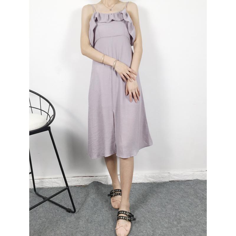 莫兰迪色系 造型荷叶边露背中开衩吊带连衣裙 3色