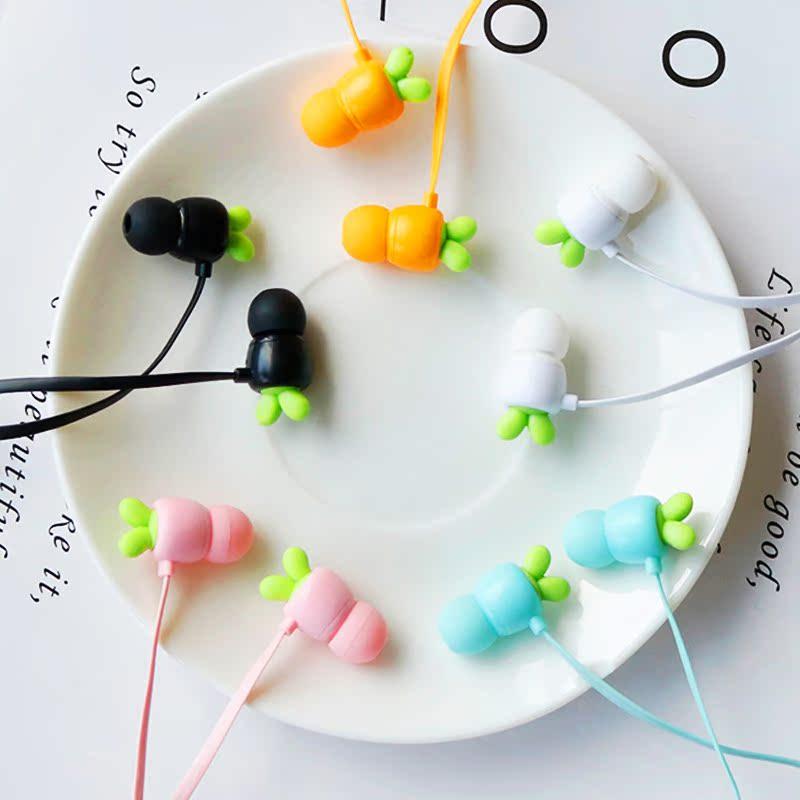 可爱卡通耳机入耳式通用女生韩国迷你创意恋人韩版重低音音乐vivo