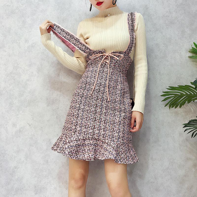 冬季女装17新款韩版高腰系带粗花呢A字鱼尾裙修身显瘦背带连衣裙