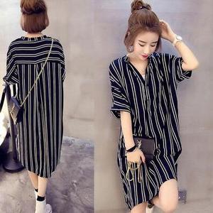 fa924debfd3fb Chiffon dress summer new plus fertilizer XL women s short-sleeved striped  shirt fat mm long t-shirt skirt