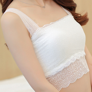 3b8937ef4d Summer little cute white lace anti-glare tube top wrapped chest underwear  bottoming strap vest girl and waist short