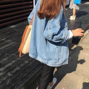 牛仔外套女春秋季新款潮学生韩版2020宽松薄款bf短款上衣工装夹克