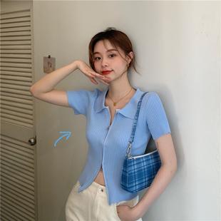 針織上衣女薄短款開衫夏季2020新款拉鏈緊身顯瘦polo領短袖外套潮