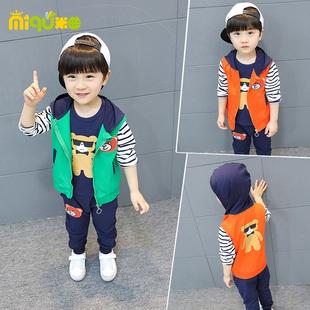 純棉男童裝男寶寶秋裝秋季嬰幼兒童1衣服2小童3套裝4一周歲三件套