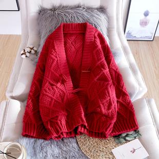 毛衣外套女2020春秋季新款韩版宽松慵懒风时尚中长款针织开衫加厚
