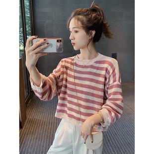 秋季新款韩版宽松条纹冰丝针织长袖t恤女网红港风薄短款上衣服潮