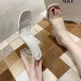 凉鞋女2020新款夏百搭网红一字带粗跟凉拖鞋女外穿水晶透明高跟鞋
