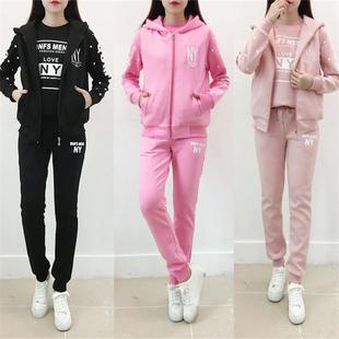 少女孩秋冬季加绒时尚运动休闲装初中高中学生保暖卫衣服三件套装