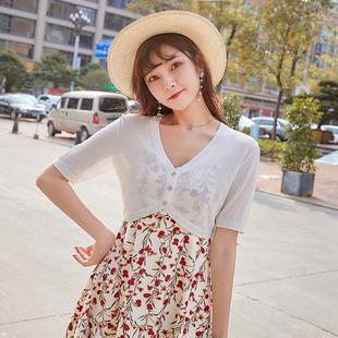 小款針織開衫薄款女超薄夏季披肩冰絲短款小坎肩短袖外搭超短上衣
