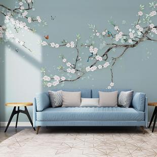 喜上眉梢花鳥梅花新中式沙發電視背景墻壁紙簡約現代客廳壁畫墻布