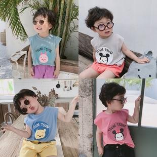 小童背心男童坎袖外穿无袖上衣夏季潮套装儿童纯棉超薄款透气宝宝