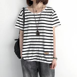 夏季竹节棉t恤女宽松大码条纹半袖体恤韩版纯棉短袖上衣短款ins潮