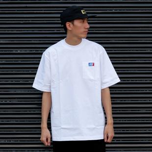 bboy宽松 纯色t恤重磅街舞嘻哈打底hiphop小领加袋短袖poppin滑板