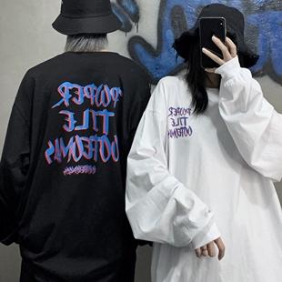 妈个鸡妈 韩国ins原宿高街潮流暗黑前后字母宽松情侣长袖T恤男女