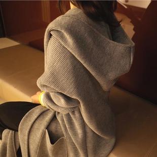 2018秋冬新款纯色中长款宽松chic毛衣开衫女加厚连帽针织衫外套女