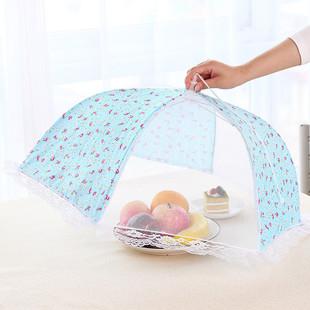 圆形大号蕾丝可折叠餐桌罩饭菜罩 厨房防蝇防虫食物罩盖菜罩子