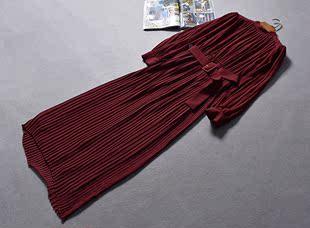 西班牙单腰带收腰小高领长袖百褶雪纺连衣裙子有大码春夏女装0.47