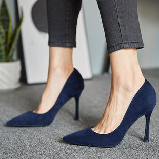 秋季百搭黑色尖头细跟网红高跟鞋性感职业ol女鞋蓝色简约少女单鞋