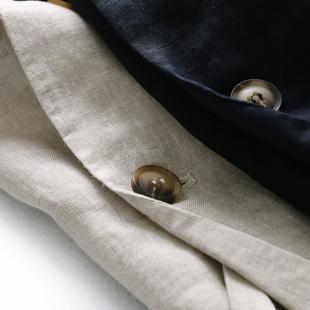 淡雅自然 宽松 西装领七分袖亚麻西装外套女 2019新款春天家X766