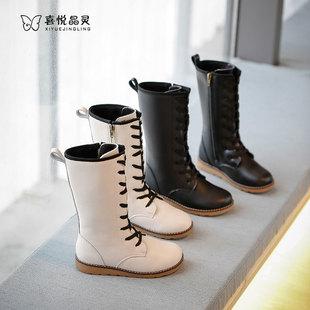 女童长筒靴子2020冬季新款时尚长靴加绒加厚大童高筒靴马丁靴洋气