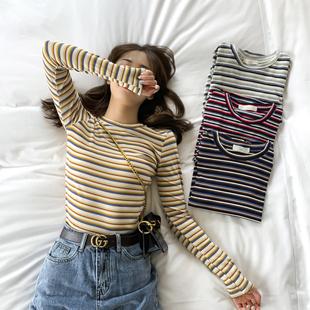 彩虹条纹长袖T恤女装2020春秋季新款网红修身早秋上衣紧身打底衫