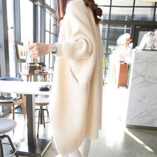 学院风小个子中长款毛衣外套女开衫针织衫韩版宽松秋冬加厚蝙蝠衫