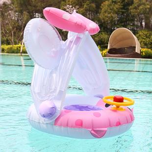 新款防晒儿童遮阳座圈 带方向盘游泳圈卡通婴幼儿救生圈 儿童泳圈