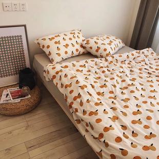 【减30】ins日式全棉针织天竺棉四件套小枇杷法斗裸睡单双人床笠