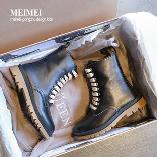 牛皮儿童马丁靴英伦风2020秋季新款女童靴子春秋单靴真皮男童短靴