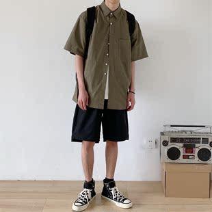 孤僻星球 美式潮流个性工装短袖衬衫 复古中性男女宽松短袖衬衣