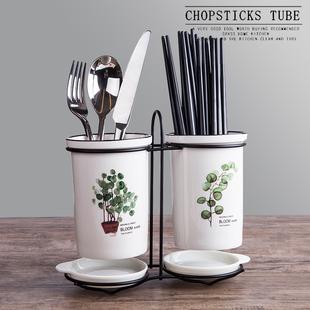 筷子篓陶瓷筷子筒置物架沥水厨房放勺子的收纳盒桶平放筷子笼家用